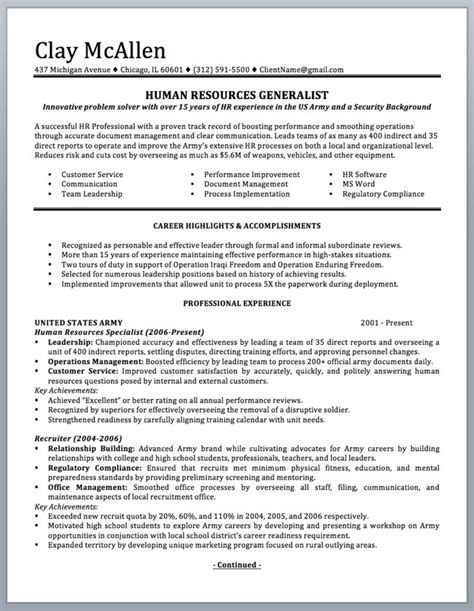 Free Resume Exles For To Civilian by Professionally Written Resume To Civilian Sle And Writing Guide Page 1 Resume