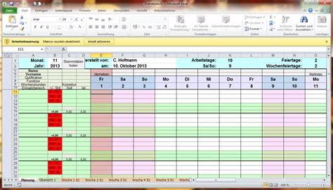 excel tabelle dienstplan