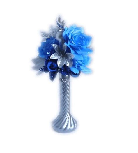 blue and silver flower arrangements blue christmas centerpiece holiday decor silver