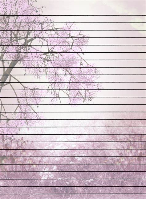 tree  flowers lined printable stationary printable