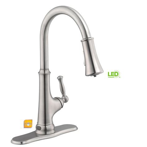 touchless faucets kitchen glacier bay touchless single handle pull sprayer