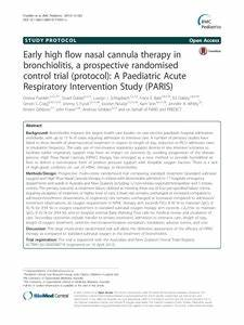 Early high flow nasal cannula therapy in bronchiolitis, a ...