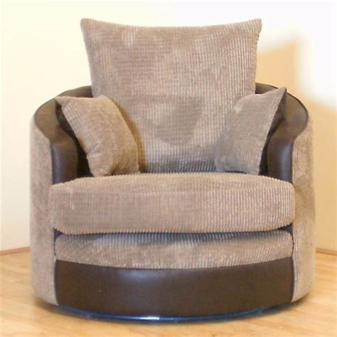 Swivel Cuddle Chair by Destiny Swivel Cuddle Chair In Comfy Brown And Beige Jumbo