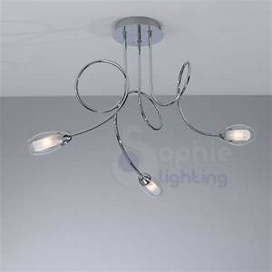 Lampadario moderno soffitto 3 luci bracci arrotondati for Lampadario vetro moderno