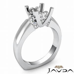 Diamond engagement european shank ring 14k white gold for Wedding ring mounts