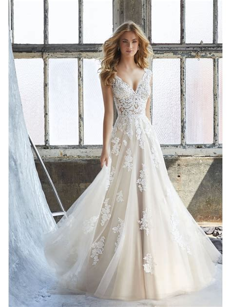 Mori Lee 8206 Kennedy Lace Soft Tulle Ivory Rose Wedding Gown