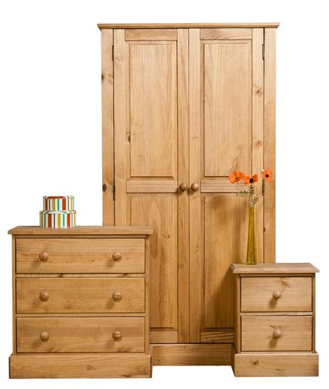 Drawers With Rails by Cotswold Waxed Pine 2 Door 2 Drawer Wardrobe Wide Closet