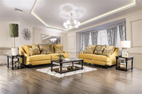 viscontti gold sofa  loveseat fabric living room sets