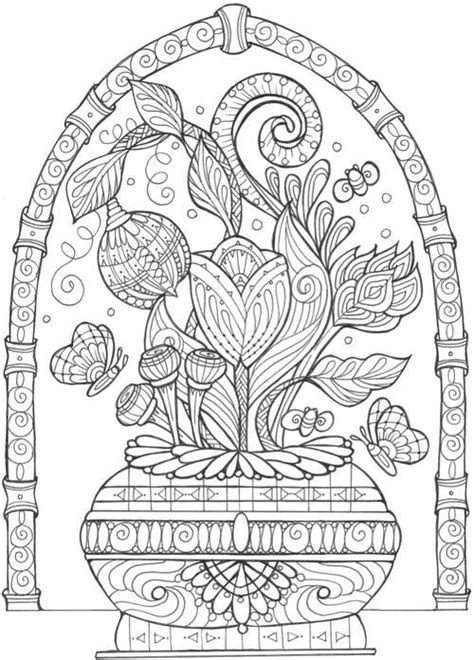 Vase of Flowers Adult Coloring Page Flower coloring
