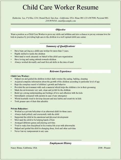 Childcare Resumes by Child Care Provider Resume Template Learnhowtoloseweight Net