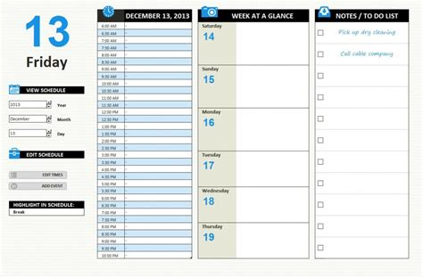 daily schedule template excel task list templates