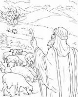 Moses Coloring Bush Burning Printable sketch template