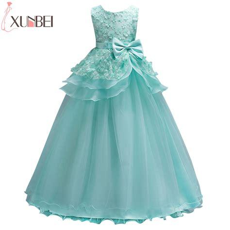 beautiful mint green flower girl dresses  lace flower