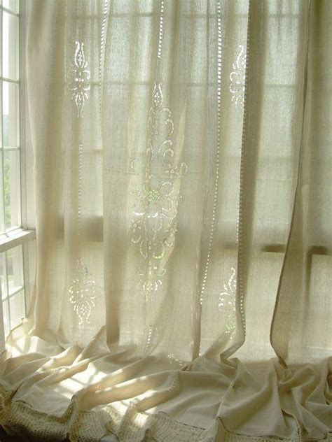 tab top country cotton linen crochet lace curtain
