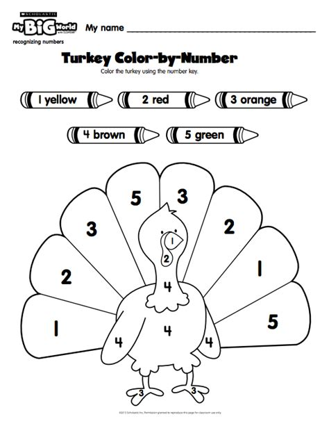 pre k students use a number key to color in a turkey with