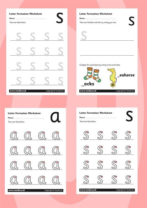 twinkl resources phase  letter formation worksheets