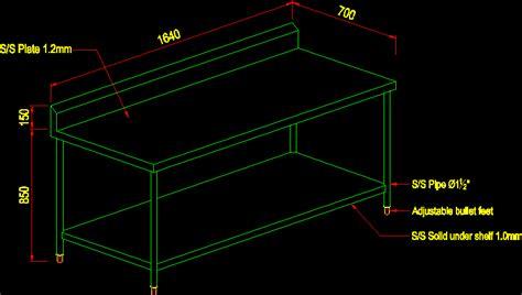 stainless steel worktable  undershelf dwg block