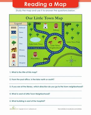 map reading worksheet education
