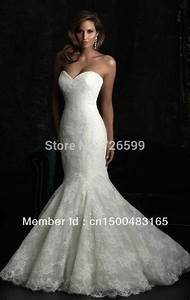 free shipping best new style long mermaid trumpet lace With wedding dresses trumpet style lace