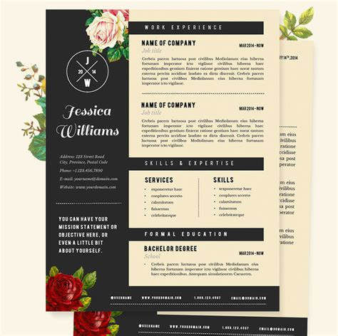 Girly Resume Templates by Resume Cv Template Pkg Resume Templates On Creative Market