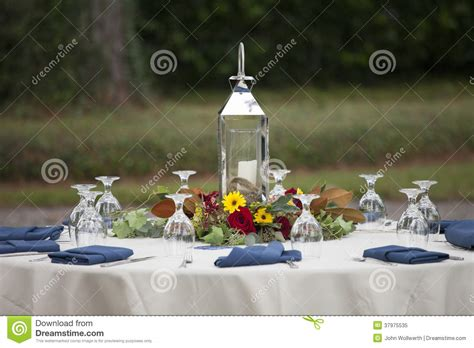 Elegant Place Setting For Outdoor Dinner Royalty Free