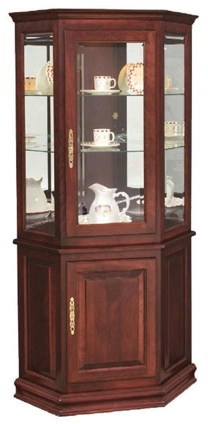 Hardwood Corner Curio Cabinet with Enclosed Base from
