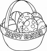 Easter Coloring Basket Pages Happy sketch template