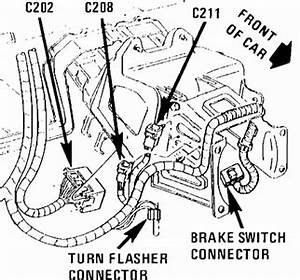 solved my turn signal quit working i checked the fuses With this is with the brake light switch unplugged and looking into the