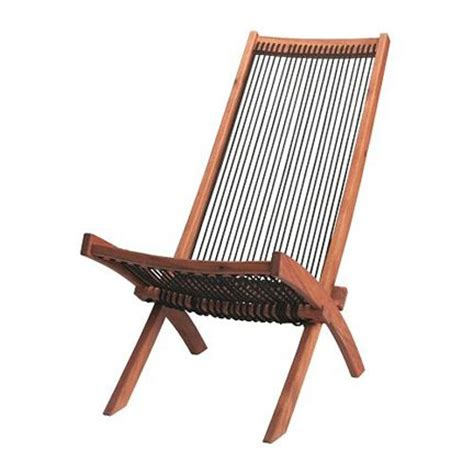 ikea deck chair acacia wood string twine rope mid century