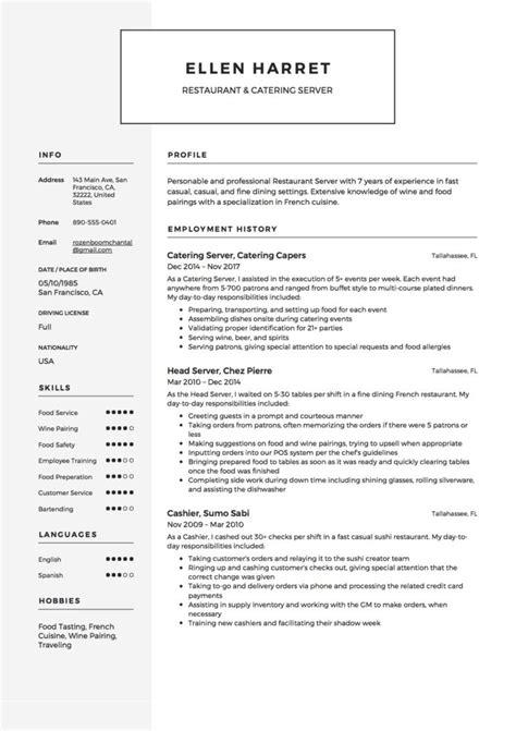 Resume Server by 12 Restaurant Server Resume Sle S 2018 Free Downloads