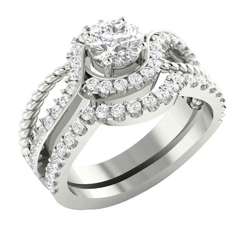 14k white gold si1 g 1 75tcw real unique bridal ring engagement band ebay