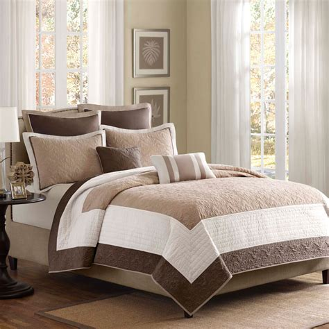 White Coverlet Set by Beautiful 7pc Soft Ivory White Chocolate Brown Beige Taupe