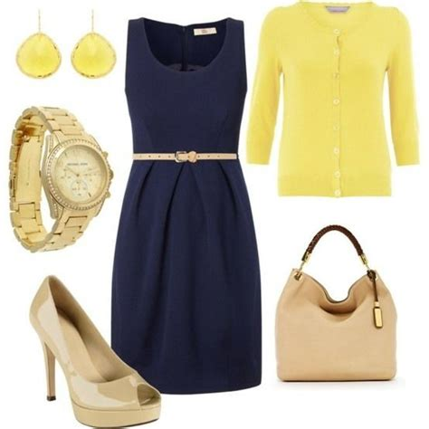 Navy blue dress match with yellow tops u0026 light colored bag u0026 shoes | Clothes | Pinterest | Bags ...