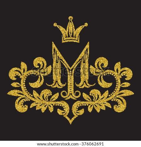 patterned golden letter  monogram vintage stock vector
