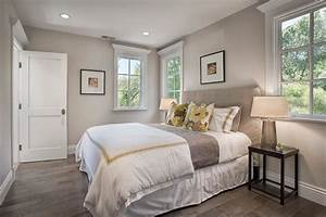 Gray trim white walls bedroom transitional with full