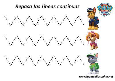 Escoger una nueva tarjeta y dibuja la palabra correspondiente al color de la casilla. Grafomotricidad - Fichas infantiles de la Patrulla Canina ...
