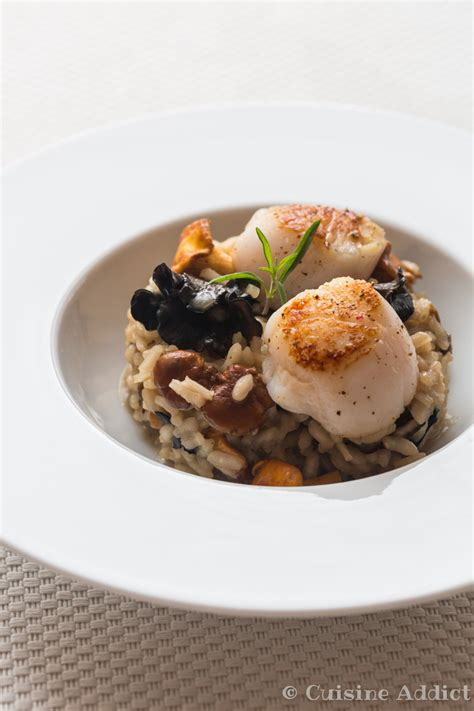 cuisine st jacques risotto with mushrooms scallops cuisine addict