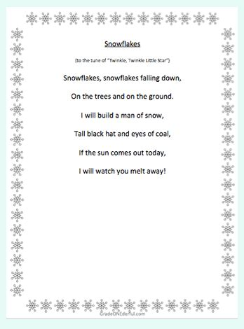 fabulous  snow poems  kids grade onederful