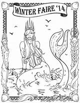 Mermaid Coloring Winter sketch template