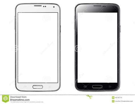 smartphone black and white smartphone white screen isolated stock vector image
