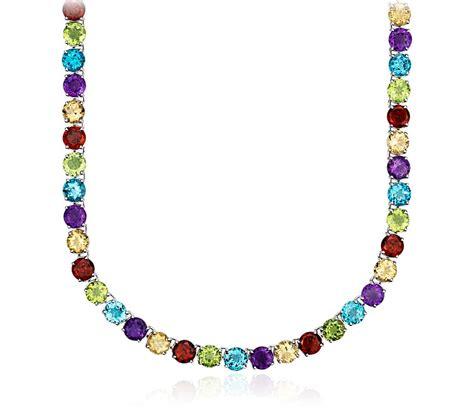 multi gemstone necklace multicolor gemstone eternity necklace in sterling silver