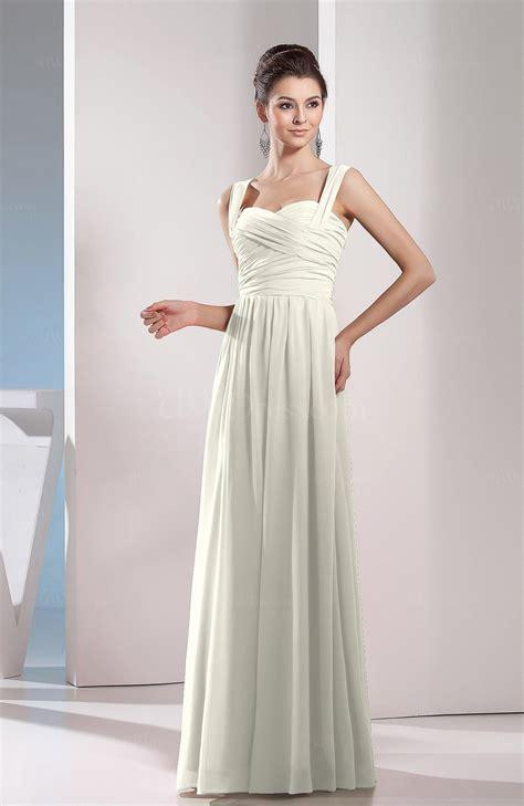 cream cute chiffon floor length ruching bridesmaid