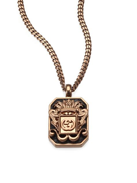 8321caeb88c Lyst Gucci Vintage Crest Necklace In Metallic For Men