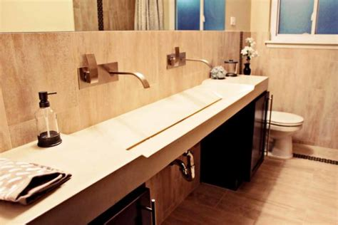 Bathroom. Elegant Designs Of Trough Bathroom Sink With Two
