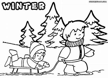 Winter Coloring Pages Sled Play Colorings