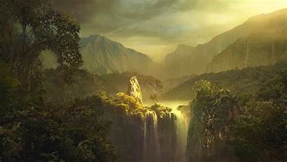 Wallpapers Landscape Painting Artistic Mountain Waterfall Impressionist