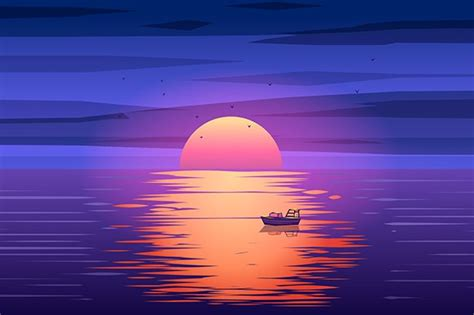 fishing boat sunset vector illustrations creative market
