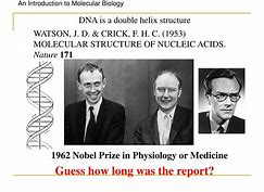 Image result for James D. Watson and Francis H.C. Crick discovered the double-helix structure of DNA.