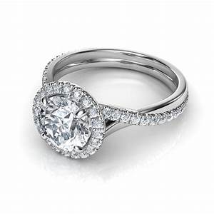Pave halo twisted shank diamond engagement ring for Pave wedding rings