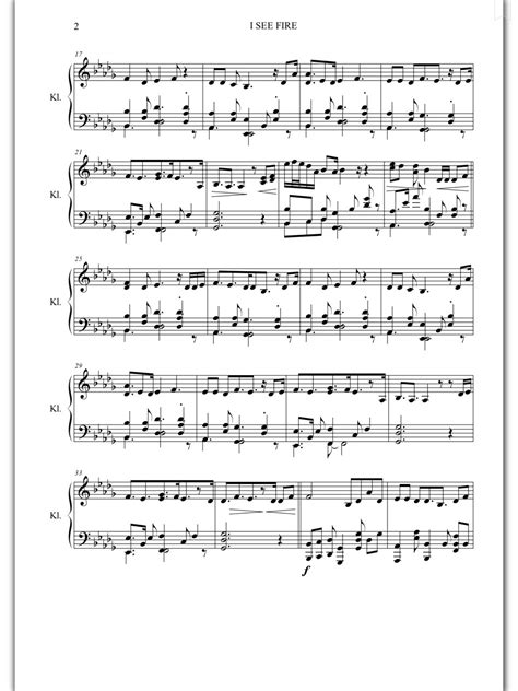 piano sheet music i see fire ed sheeran piano sheet